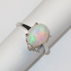 Купить Кольцо с опалом серебряное - разноцветный, опал натуральный, серебро925, серебряное кольцо, кольцо с опалом