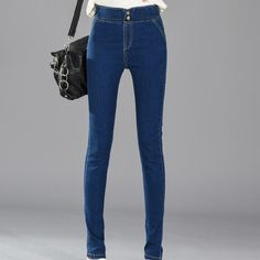 LinsDenim 2017 New High Waist Elastic Strech Classical Jeans Plus Size Women Skinny Jeans Femme Capris Denim Pants
