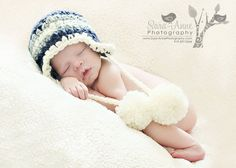 Cute baby boy hat with large pompoms Crochet baby by mybabyhats, $14.99