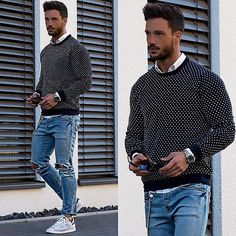 Printed black sweater with a shirt and denim with sneakers — Men's Fashion Blog - #TheUnstitchd