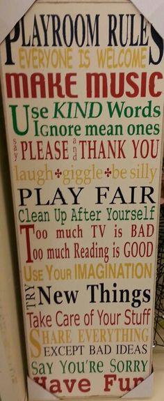 Playroom rules