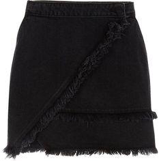 River Island Black frayed trim denim mini skirt (396605 PYG) ❤ liked on Polyvore featuring skirts, mini skirts, black, women, wrap skirt, denim mini skirts, wrap mini skirt and short mini skirts
