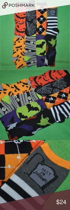 8 PAIR HALLOWEEN SOCK LOT 8 nwot over-the-ankle/knee socks - never worn - no flaws  tags: dark spooky horror rock gothic punk goth girls girl womens women sock feet grey black bats green skulls prints print patterns pattern graphic style warm chill chilly cool rebellious rebel roll contrast spook creepy costume creeper creep halloween holidays holiday cute adorable party stylish fun fan bats fly flying comfortable comfort creature classic sleep casual day night boo gift present gifts pretty…