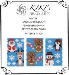 Pattern peyote pen cover Santa and Rudolph by KikisBeadArts                                                                                                                                                                                 More