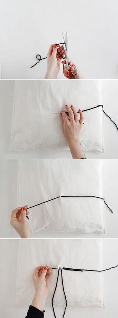 Fall For DIY Stitched Tassel Cushion tutorial
