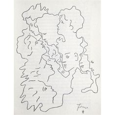 """lithograph by Jean Cocteau from 1958. Hand signed by Cocteau in pencil. Published in the signed special edition of """"Le Livre Blanc"""". Edition des Quatre Chemins / Paris 1958."""