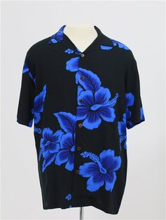 800429ddc86 Men s Aloha Shirts  Big Hibiscus   Black   Blue  - Men s Aloha Shirts - Hawaiian  Shirts