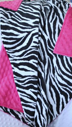 """Baby or Toddler Girl Minky Cuddle Zebra with Hot Pink Minky Dot Blanket 28x32""""- $25"""