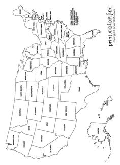 United States Map Coloring Pages New Us Map Coloring Page Print Color Fun The Unit, Map, United States Map, Activities, School Worksheets, Homeschool History, Flag Coloring Pages, Homeschool Geography