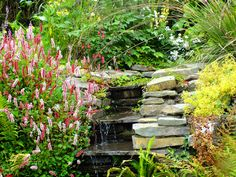 Water feature made with Liscanor stone from County Clare. County Clare, Farmhouse Garden, Water Features, Beautiful Gardens, Irish, Yard, Stone, Flowers, Plants