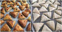 Pratik ve lezzetli bir börek yapmaya ne dersiniz? Ben bir kısmının kenar kısımlarını susama batırdım, çok güzel oldular.  Şimdi hazır yufkadan üçgen börek yapımı için gerekli mal Donuts, French Toast, Bakery, Good Food, Pie, Breakfast, Voodoo, Biscuits, Turkish Language