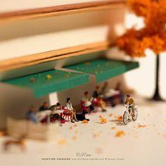 Miniature Art By Tatsuya Tanaka. Tatsuya Tanaka is a Japanese artist and Continue Reading and for more miniatures → View Website miniatureartist Miniature Photography, Toys Photography, Amazing Photography, Miniature Calendar, Tiny Stories, Book Cafe, Tiny World, Creative Artwork, Photoshop Design