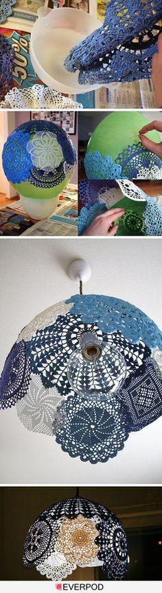 Doily lamp. LOVE.