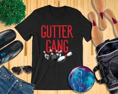 6f57c640 Funny Bowling Couple Family or Coworkers Team Name For Bowling Birthday  Party Night Gutter Gang Matching Unisex T-Shirt For Bowling Event