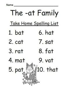 FREEBIE! The -at Family Spelling {Word Work} Lists & Tests  Adorable Cat Theme! This Spelling Unit has 15 pages. Some school districts call it Spelling, some call it Word Work! This packet has both! Phonics Reading, Teaching Phonics, Kindergarten Literacy, Preschool Learning, Teaching Reading, Teaching Spanish, Reading Resources, Preschool Ideas, Free Reading