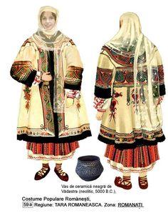 Romanati Vadastra Romania People, Popular Costumes, Moldova, Folk Costume, Knitting Patterns, Kimono Top, Textiles, Traditional, Blouse