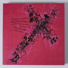 Flower Cross Ivy Pink Square Large Box Print Wall Art Made In The USA