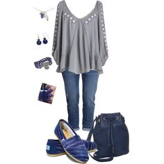 grey and blue casualness - plus size