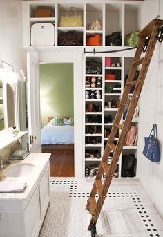 closet in  bathroom - La Dolce Vita: Dream Home: Design Darling