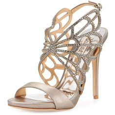 Badgley Mischka Newlyn II Crystal Laser-Cut Sandal ($164) ❤ liked on Polyvore featuring shoes, sandals, pewter, ankle tie sandals, open toe sandals, badgley mischka shoes, ankle strap sandals and metallic platform sandals
