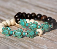 Turquoise Sea Turtles Beaded Bracelets