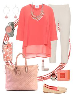 """""""Plus Size Casual Day in Coral"""" by hipbilly on Polyvore featuring navabi, Zizzi, Christian Dior, Chassè, Casetify, Smashglam, Olivia Pratt, Bulgari and Lipstick Queen"""