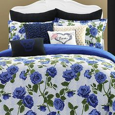 Shop for Betsey Johnson Regal Roses Cotton Comforter Set. Get free delivery On EVERYTHING* Overstock - Your Online Fashion Bedding Store! Rose Comforter, Twin Comforter Sets, Blue Bedding, Bedding Sets, Pillow Shams, Floral Comforter, Betsey Johnson Bedding, Luxury Bedding Collections