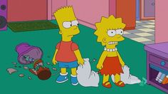 Hey, Bart and Lisa are having a pillow fight and one of them broke the lamp! Who did that? Was that Bart or Lisa?