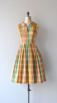 Mirepoix dress 1950s vintage dress cotton plaid by DearGolden