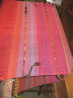 Handwoven Hand Dyed Silk Shawl with Handspun Art Yarn