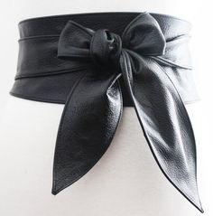 Black Belt Black Leather Obi Belt tulip tie Black by LoveYaaYaa
