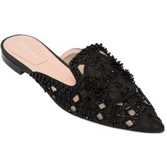 Alberta Ferretti Women 10mm Beaded Mesh & Satin Mules (4,580 ILS) ❤ liked on Polyvore featuring shoes, black, black satin flats, black mules shoes, black mules, leather sole shoes and mesh shoes