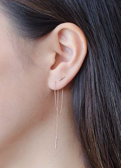Rose Gold Threader Earrings Long Gold Chain by lunaijewelry
