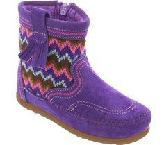 Minnetonka Moc Aspen Fashion Boot in Purple -  - Little Feet Childrens Shoes. #minnetonkamoc #aspen #fashionboot #fall #cutegirlboots #toddler #fall #girl