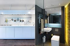 (Left) The kitchen has beautiful Smeg burners while the bathroom (right) is discrete and functional with subtle lighting.  http://www.homesandproperty.co.uk/your_home_and_garden/my_home/perlmanhome.html