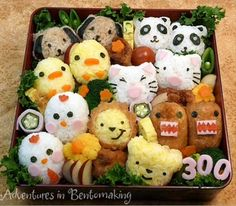 animal characters bento (Japanese lunch box sushi art)