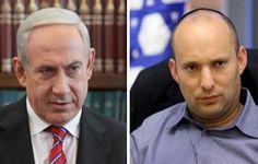 Economy Minister Naftali Bennett (R) and Prime Minister Binyamin Netanyahu