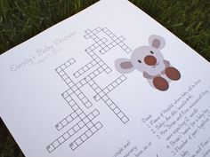 Custom Baby Shower Crossword Puzzle - Koala Bear - Perfect for a baby shower or for a mother-to-be. $20.00, via Etsy.