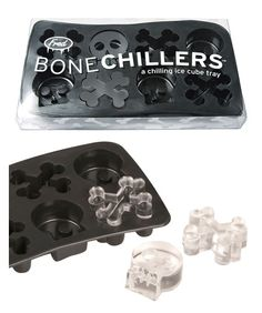 Punk up your bitchin' beverages with Bone Chillers! Sit back and chill out with these skull and crossbone ice cubes, guaranteed to rock your drinks. Food-safe flexible silicon rubber, hand-wash and freeze only!