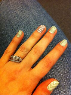 """""""Mint green chevron"""" with """"gray & white polka"""" as accent nails  #Jamberry nail shields Lasts 2 weeks on fingers and 5 weeks on toes... Easy to apply yourself in 15 minutes, doesn't chip, NO WAITING FOR NAILS TO DRY, and best yet, cheap!!  Each sheet has enough for 3-4 manis and/or pedis for $15 and the sheets are buy 3 get 1 free! Mailed to your house in 5-10 days..  300+ designs to choose from!!! WickedCute.jamberrynails.net"""