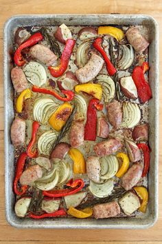 A one-pan dinner using all of your fridge staples: sausage, onion, and peppers.