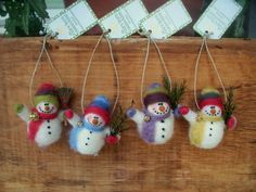 Mini Snowman Wool Wrapped/Needle Felted Ornament
