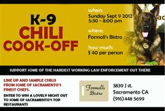 Sept 9th: Support Sacramento Sheriff K9 Association at the K-9 Chili Cook-Off at Formoli's on J St