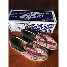 Limited Edition Paul Frank Skurvy Skull Vans Super rare and awesome pair of limited edition Paul Frank slip-on Vans in men's size 9 / women's size 10.5.  The pink skurvy skull print is one of three prints that Paul Frank designed for Vans.  These have been worn with love and definitely show signs of wear but have lots of life left in them!  They also come with original box :)  Offers always considered and will bundle for a better deal! Vans Shoes Sneakers