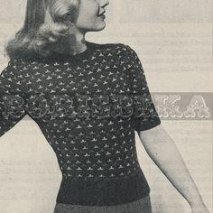 vintage JUMPER knitting pattern 40s PDF by borisbeka on Etsy, $3.50
