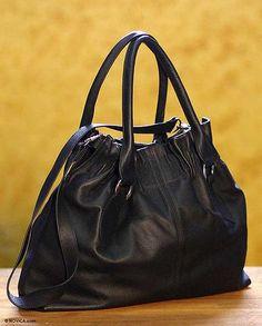 Leather hobo handbag, 'Nocturnal Black' by NOVICA
