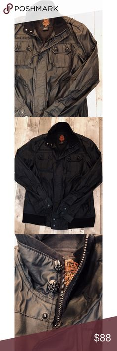"""Rock Revival Matte Black Jacket Pre owned but no signs of wear. Awesome matte black lightweight jacket. Has 4 pockets total . Black zipper in front . All black buttons. """" Rock Revival """" back of the neck *see picture. Size medium very true to side. Total length straight down in front 25"""" Rock Revival Jackets & Coats Lightweight & Shirt Jackets"""