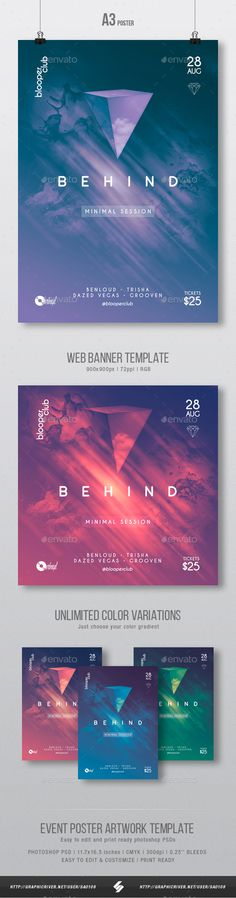 Behind - Minimal Party Poster / #Flyer Artwork Template A3 - Clubs & Parties Events
