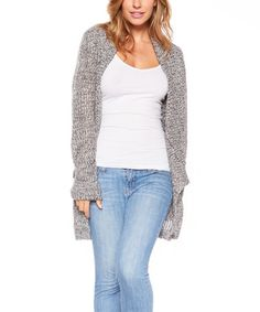 Another great find on #zulily! Heather Gray Two-Tone Hi-Low Open Cardigan #zulilyfinds