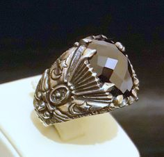 925 Sterling Silver Men's Ring  Agate Stone by RIVERJEWELS1985